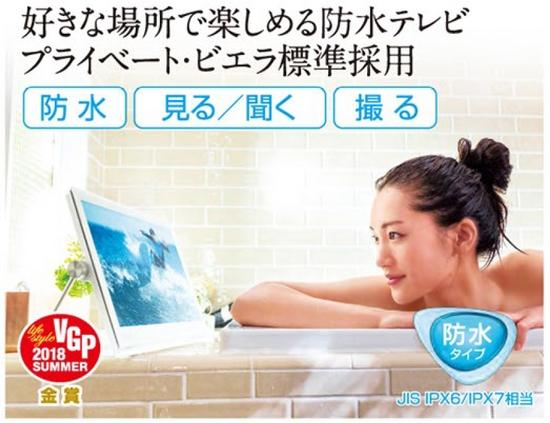 好きな場所で楽しめる防水テレビパナソニック製「プライベート・ビエラ」が標準装備。(メーカーパンフより)